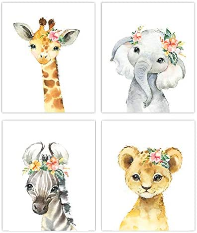 Little Baby Watercolor Animals Floral Crown Safari Prints Set of 4 Unframed Nursery Decor Art product image