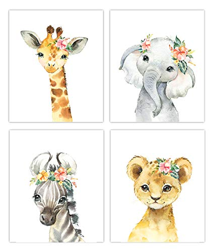 Little Baby Watercolor Animals Floral Crown Safari Prints Set of 4 (Unframed) Nursery Decor Art (8x10) (Option 2)