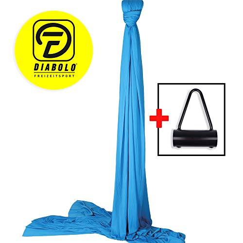 Diabolo Freizeitsport Vertikaltuch-Set inkl. Vertikaltuchhalterung Triangel für Karabiner für Artistik & Aerial Yoga l Made in Germany l 8 m, blau