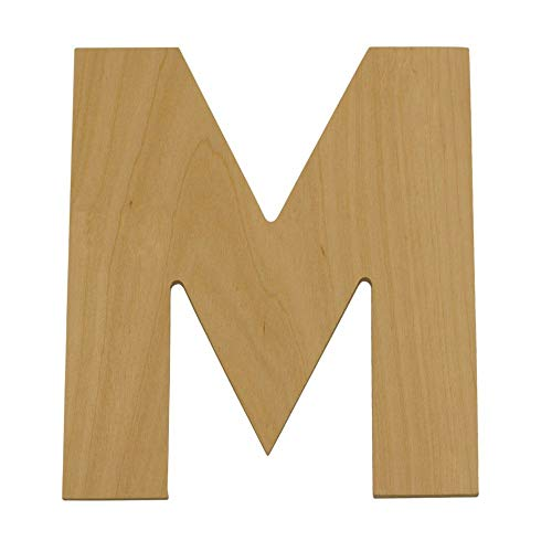 Wooden Letters - M - Unfinished 8 x 8Inch Decorative Craft Monogram for Wedding Parties and Home Décor with Tool Free Adhesive Foam Squares for Hanging - by Woodpeckers