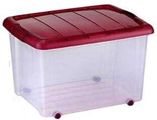 Zfggd boîte de rangement Claire en Plastique 35L / 50L avec Le Couvercle articulé par Rouge et Le conteneur empilable Fort...