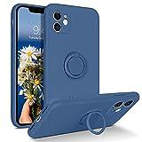 YINLAI Funda de silicona para iPhone 11, con anillo de 360 grados, soporte de gel mate, líquido, suave, antideslizante, protección contra caídas, resistente a los arañazos, color azul