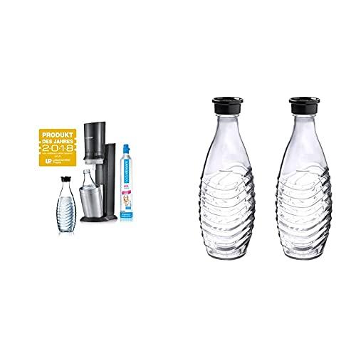 Sodastream Crystal 2.0 Gasatore d'Acqua incl. 1 Cilindro E 2 Caraffe di Vetro 0, 6L Titanio Irrigatore per Acqua...