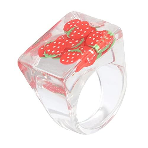 Happyyami Anillo de Resina Acrílica de Diamantes de Imitación de Resina Retro Anillo Transparente de Resina Vintage Anillos de Joyería para Niños con Índice de Colores Accesorios de Joyería