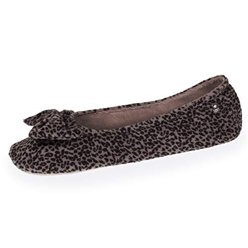 Isotoner - Zapatillas de bailarinas para mujer, diseño de leopardo,