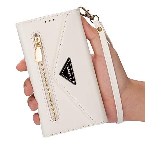 LUSHENG Capa de couro compatível com Samsung Galaxy J8 (2018)/A6 Plus (2018), [Suporte de deformação] Capa estilo compartimento para cartão com zíper executivo com Samsung Galaxy J8 (2018)/A6 Plus (2018) - Branca