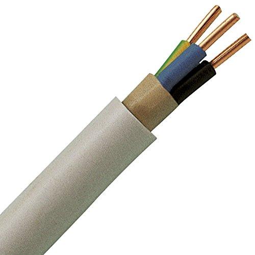 waskönig de Walter 5eléctrico NYM-J–Cable con 3x 2,5mm² 50m Ring (Marca Alemana.) VDE, abrigo color gris claro (RAL7035)
