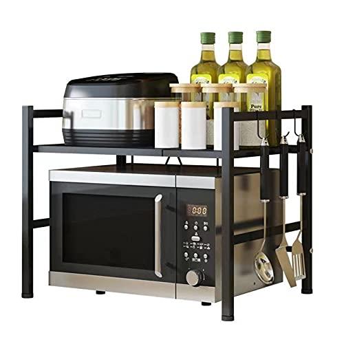 Estantería para microondas, de acero al carbono, con 3 ganchos, ampliable, ancho 40-60 cm x 45 cm x 42 cm