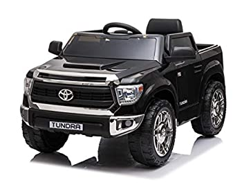 Rock Wheels Licensed Toyota Tundra Ride-On Car 12V Battery Powered Electric 4 Wheels Kids Toys w/ Remote Control Foot Pedal Music Aux LED Headlights 2 Speeds- Black  Midnight Black