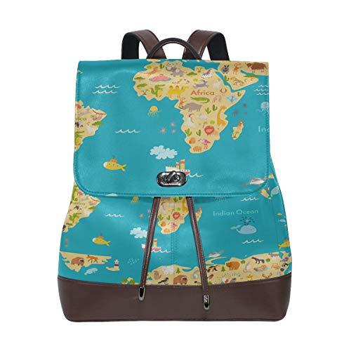 Mochila de piel sintética con diseño de mapa de animales para niños, mochila de viaje de piel con cordón impermeable