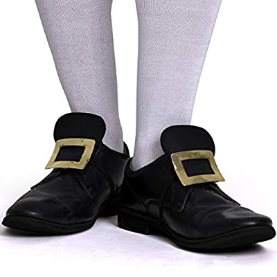 Skeleteen Colonial Shoe Buckle Accessories - Historical Gold Shoe Buckles Costume Accessory by Skeleteen