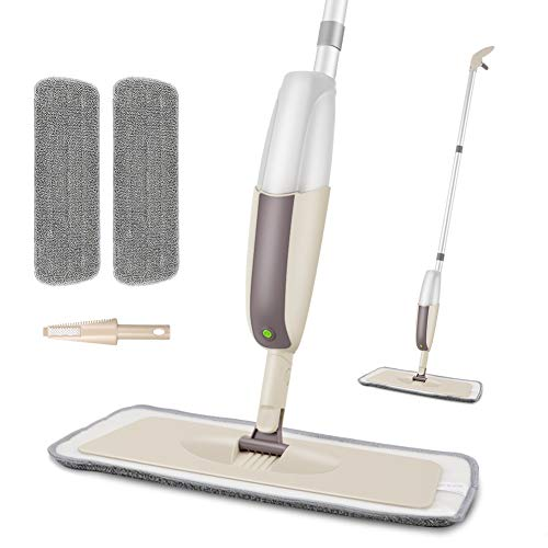 HOMTOYOU Spray Mop for Floor Cleaning, Floor Mop with a Refillable Spray Bottle and 2 Washable Pads, Flat Mop for Home Kitchen Hardwood Laminate Wood Ceramic Tiles Floor Cleaning