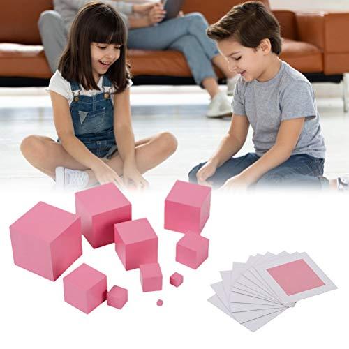 Oyria Cajas de apilamiento de madera, divertido cubo de madera maciza de torre rosa para niños pequeños, apilamiento de cubos de juguetes educativos para 2 años de edad, materiales Montessori
