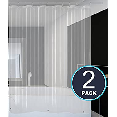 Barossa Design Shower Curtain Liner Pack of 2 - PEVA 4.8 Gauge, Bottom Magnets, Waterproof, Mold & Mildew Resistant, Eco-Friendly, Non-toxic, Odorless, PVC Free, Metal Grommets - Clear, 70x72