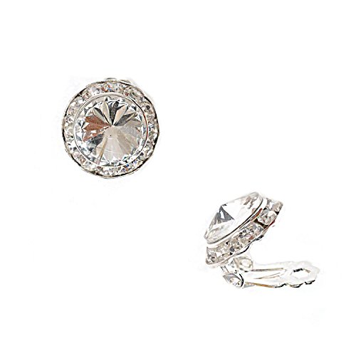 Silver Plating Element Crystal Rhinestone 15Mm Rondelle Circle Round Shape Clip Earring