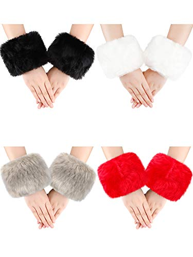 4 Pairs Women Wrist Warmers Faux Fur Arm Cuffs Winter Warm Warmers for Costume Gifts (Red, White, Black, Khaki)
