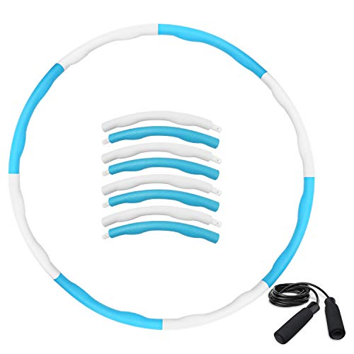 HAIGOU Hoola Hoop Reifen zur Gewichtsreduktion,Reifen mit Schaumstoff ca 1 kg,Gewichten Einstellbar Durchmesser 75-95 cm mit Seilspringen… (Blau+Weiß)