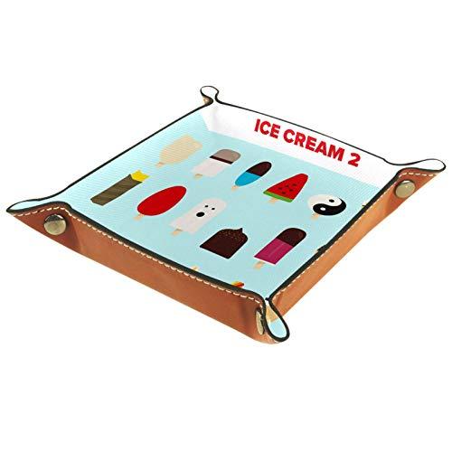 Valet Plateau Organisateur de Bureau boîte de Rangement en Cuir crème glacée Illustrations bac à fourre pour Un Usage Domestique