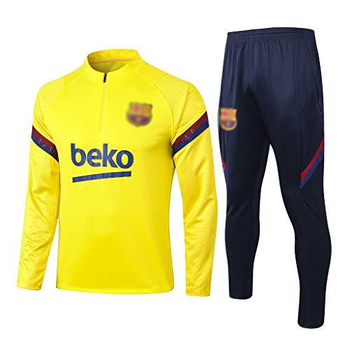 QLANG フットボールクラブメンズロングスリーブ通気性のサッカートレーニングスーツ、競争制服スポーツウェア(トップス+パンツ)Q02111 (Color : Yel