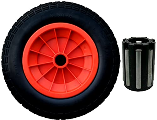 """SYTZTOOLS 3.50-8 ORANJE 14 """"PUNCTURE PROOF LANCERING TROLLEY WIELEN SOLID 20MM LAGERS"""