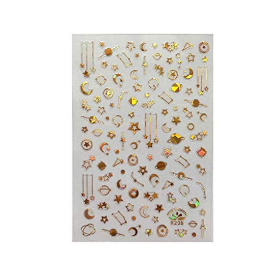 Vektenxi Ein Blatt 3D Nail Decals Sticker Wraps Feder Buchstaben Maniküre DIY Star Moon Glitter Nail Decor stilvoll