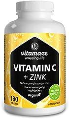 Vitamaze® Vitamina C 1000 mg + Zinc, 180 Comprimidos Vegana para 6 Meses, Reducen Fatiga y Fortalecen el Sistema Inmunológico, Natural Pura Suplemento sin Aditivos Innecesarios, Calidad Alemana