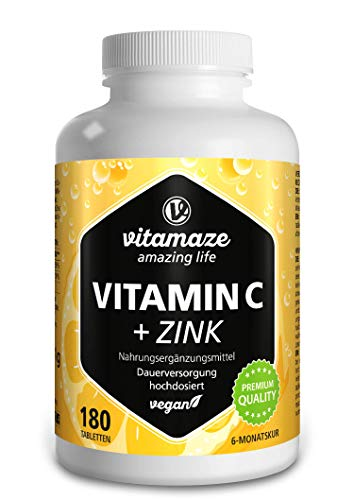 Vitamaze® Vitamina C Pura 1000 mg Alto Dosaggio + Zinco, 180 Compresse Vegan per 6 Mesi, Vitamin C Dose Forte, Qualità Tedesca, Naturale Integratore Alimentare senza Additivi non Necessari