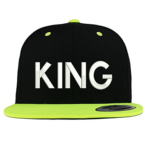 Trendy Apparel Shop King Embroidered Premium 2-Tone Flat Bill Snapback Cap - Black Green