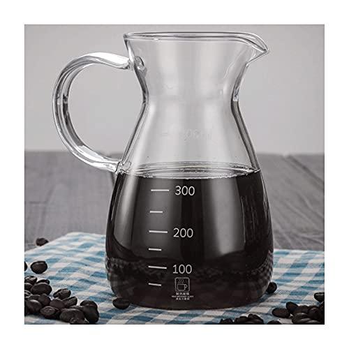 WANGLX Taza de Café de Mano de Vidrio Taza de Café Compartida de Vidrio de Borosilicato Alto Juego de Café de Cafetera de Vidrio