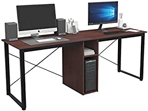 SogesHome Large Double Workstation Desk 2 Person Computer Desk Writing Desk Home Office Desk with Storage Shelf,LD-H01-WA