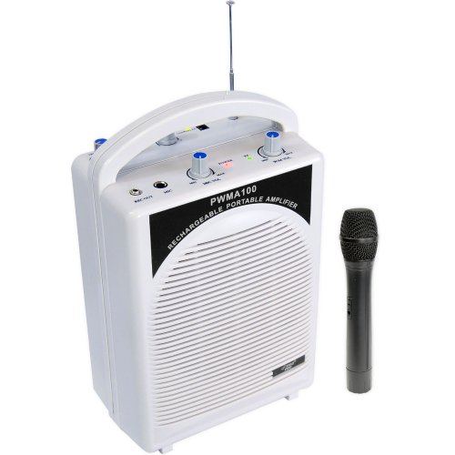 PylePro Latest Portable Mini PA Speaker System - Built in Rechargeable Battery Wireless Handheld Microphone and Aux Input Jack w/ Audio Control Center for Karaoke and Crowd Control Amplifier PWMA100