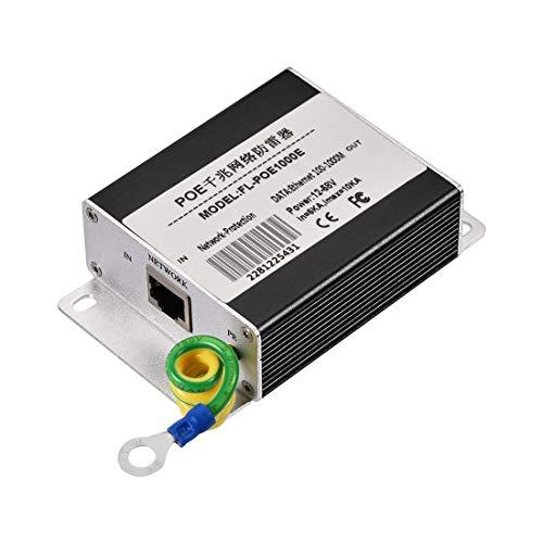 N A Ethernet Surge Protector for 100 1000 Base-T Gigabit Modem Thunder Lightning Protection Black 100 x 66 x 29 mm