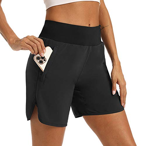M MAROAUT Women's 7 Inches Running Shorts with Zipper Pockets Liner Black Shorts Quick Dry Workout Gym Walking