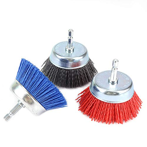 3Pcs 3-inch Abrasive Nylon Cup Brushes Set with 1/4 Inch Hex Shank Nylox Drill Brush Kit for Removal Rust Corrosion Paint, Include Grit 80 120 240 (3Pcs)