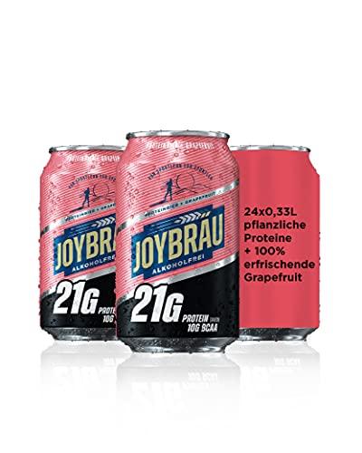 JoyBräu Proteinbier Grapefruit - Alkoholfreies, proteinreiches Sportlergetränk zur Regeneration: 21g veganes Protein, davon 10g BCAA, 24x0,33l Dosen