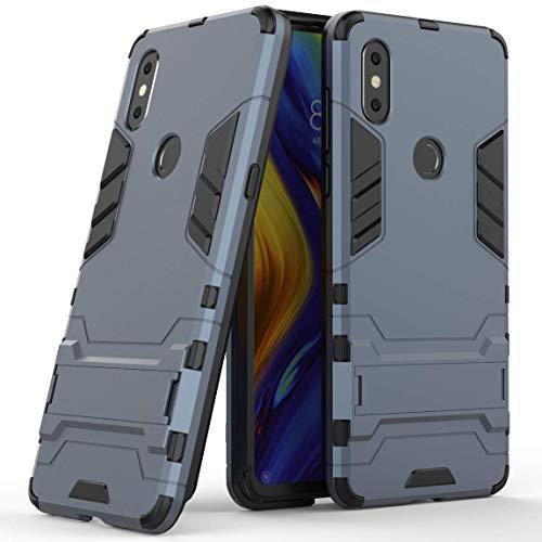 Funda para Xiaomi Mi Mix 3 (6,39 Pulgadas) 2 en 1 Híbrida Rugged Armor Case Choque Absorción Protección Dual Layer Bumper Carcasa con Pata de Cabra (Azul Negro)