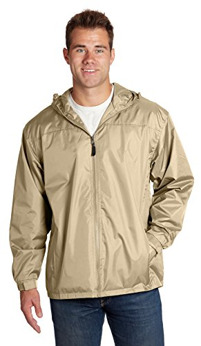 eb79 Men's Lined Hooded Wind Resistant/Water Repellent Windbreaker Jacket - Khaki, Small
