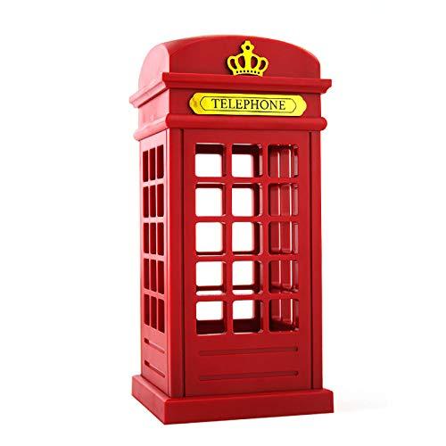 YUDIZWS Retro Ajustable Londres Caja Teléfono Ahorro de energía Lámpara de Noche Sensor táctil Tabla de Cargador USB LED Luz de Noche,Rojo