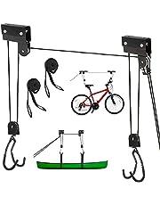 Fietslift 57 kg draagvermogen, fiets fiets lift, fiets ophanging, universele plafondlift, fietsophanging plafond voor dakkoffers, bikelift (incl. 2X bevestigingsriemen)