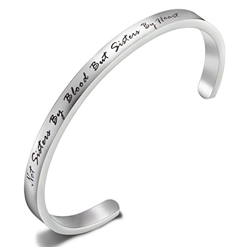 "FEELMEM Best Friends Bracelet ""Not Sisters By Blood But Sisters By Heart ""Cuff Bangle Bracelet,Inspirational Friendship Jewelry,Birthday Christmas Gifts for Women Girl(Silver Sisters By Heart)"