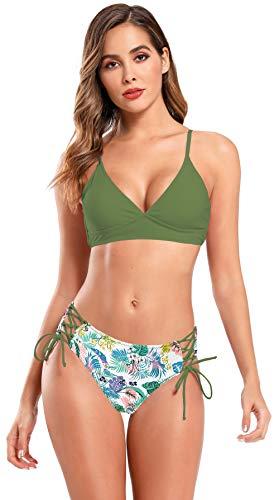 SHEKINI Mujer Bikini Ropa de Baño Dividida Traje de Baño de Dos Piezas de Cuello en V Sexy Corbata de Cintura Alta con Baúles de Baño Estampados (L, Verde Oliva)