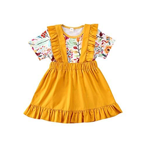 Kleinkind Kleinkind Baby Mädchen Ostern Tag Kleidung Set Kurzarm Plissee Schulter Rosa Tops + Floral Rock Baumwolle Outfit Set 2 Stück 0,5-4 Jahre (0-6 Monate, Blau)