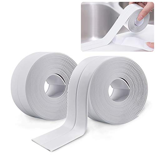 2 Rollos Cinta Baño Selladora, PVC Impermeable a Prueba de Moho Cinta...