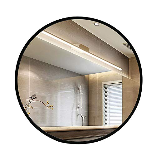 HU WU Badspiegel - nordischer wandmontierter runder Spiegel, Massivholzrahmen, HD-Spiegel, explosionsgeschützt (Verschiedene Größen)