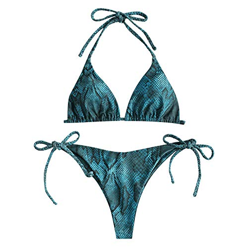 ZAFUL Women's Snakeskin Print Swimsuit High Cut Bikini Set Straps Two Piece Bathing Suit (M, Peacock Blue-H)