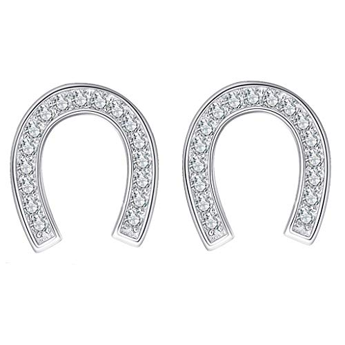 Pendientes de plata de ley 925 con forma de herradura para mujer