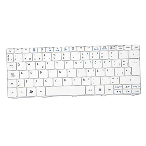 KESOTO Nuevo Teclado Español para Portátil Apto para Acer D255 D257 D260 521533 NAV50 Blanco