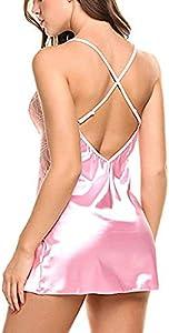 KIMODO Ropa Interior de Mujer Ropa de Dormir con Cuello en V Satén Dormir Sexy Lace Chemise Mini Vestido de Peluche Erotica Atractiva Ropa De Encaje Ropa Interior