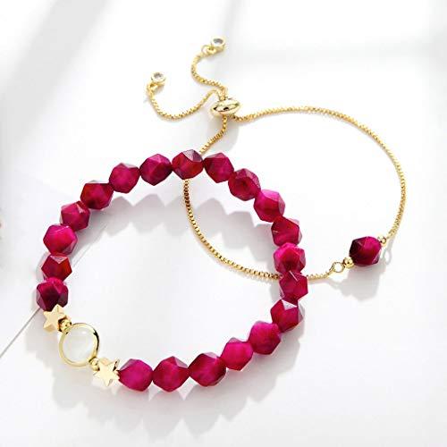 Pulsera de Plata Pulsera femenina de la personalidad joyería simple chica Departamento Sen pulsera roja del corazón de novias Accesorios romántico regalo de cumpleaños Pulsera Mujer ( Color : Red )