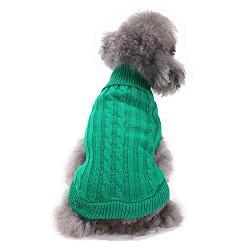 CHBORCHICEN Small Dog Sweaters Knitted Pet Cat Sweater Warm Dog Sweatshirt Dog Winter Clothes Kitten Puppy Sweater (Small,Green)